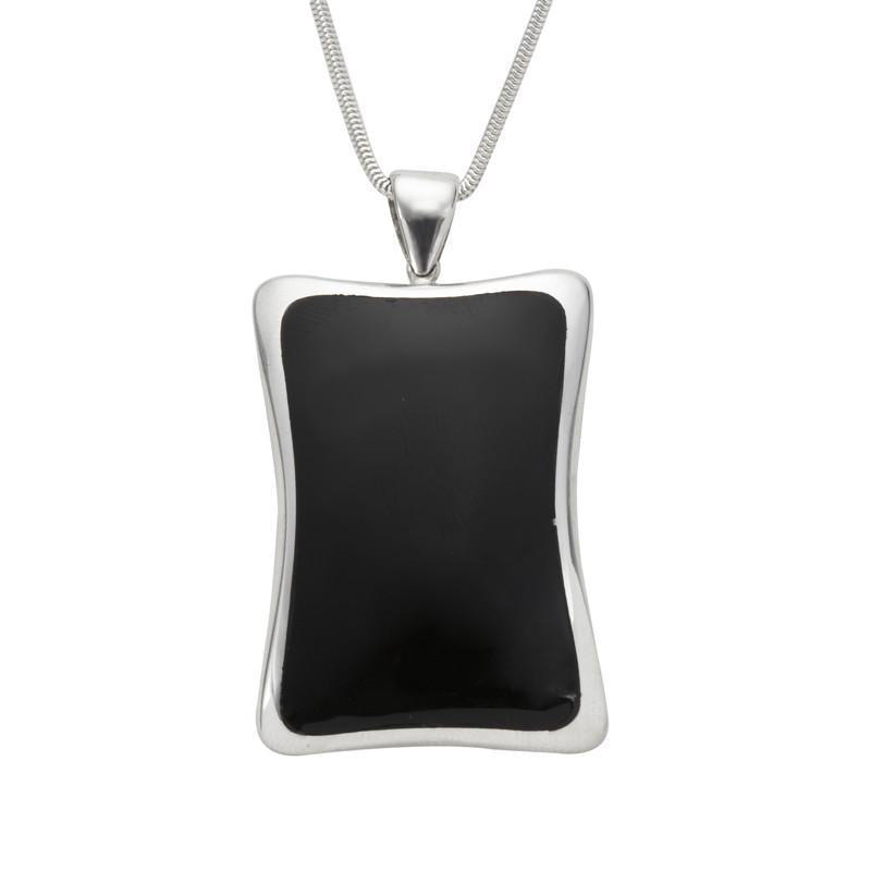 Sterling Silver Whitby Jet Abstract Concave Oblong Necklace. P1750