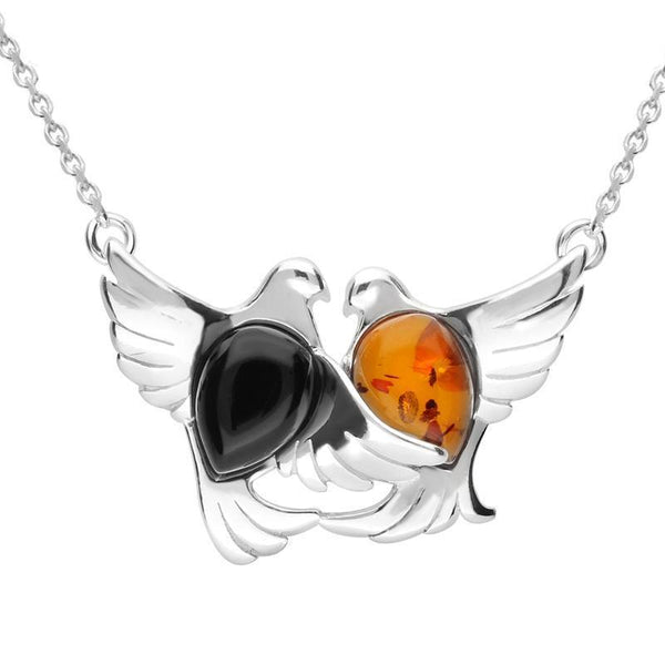 Sterling Silver Whitby Jet Amber Two Stone Bird Necklace N1038