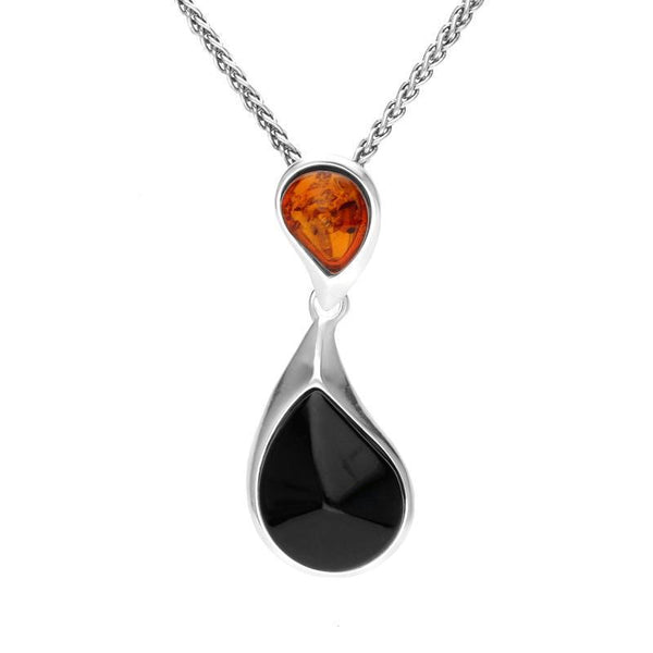 Sterling Silver Whitby Jet Amber Two Stone Pear Drop Necklace P3365