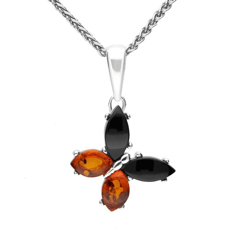Sterling Silver Whitby Jet Amber Small Butterfly Necklace P3364