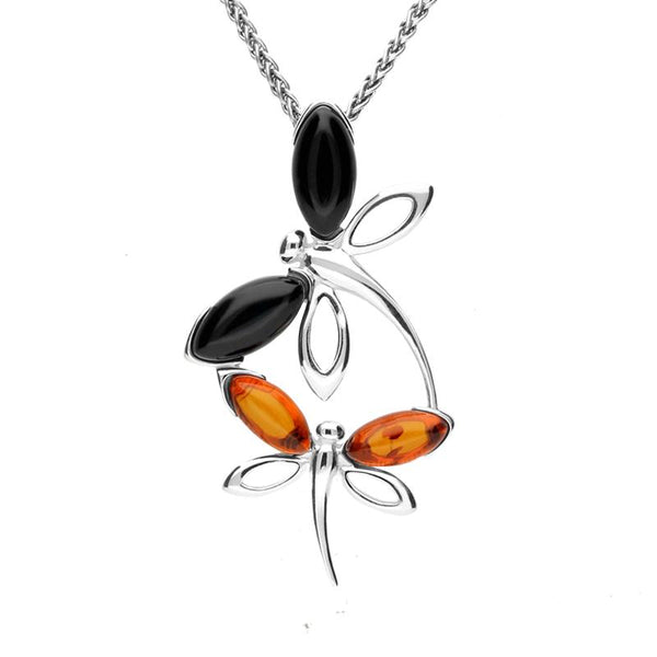 Sterling Silver Whitby Jet Amber Double Dragonfly Necklace P3368