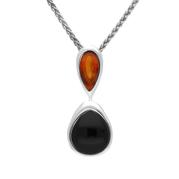 Sterling Silver Whitby Jet Amber Double Pear Drop Necklace P2918