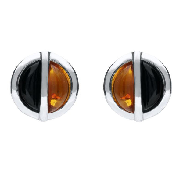 Sterling Silver Whitby Jet Amber Double Stone Stud Earrings E1805