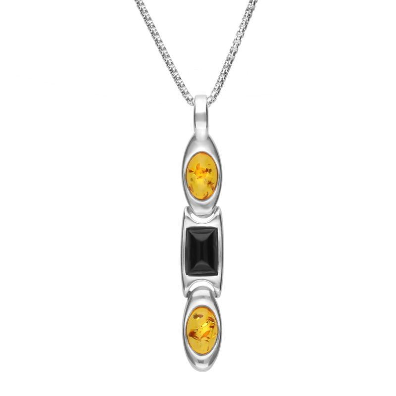 Sterling Silver Whitby Jet Amber Oval And Rectangle Necklace, P2759