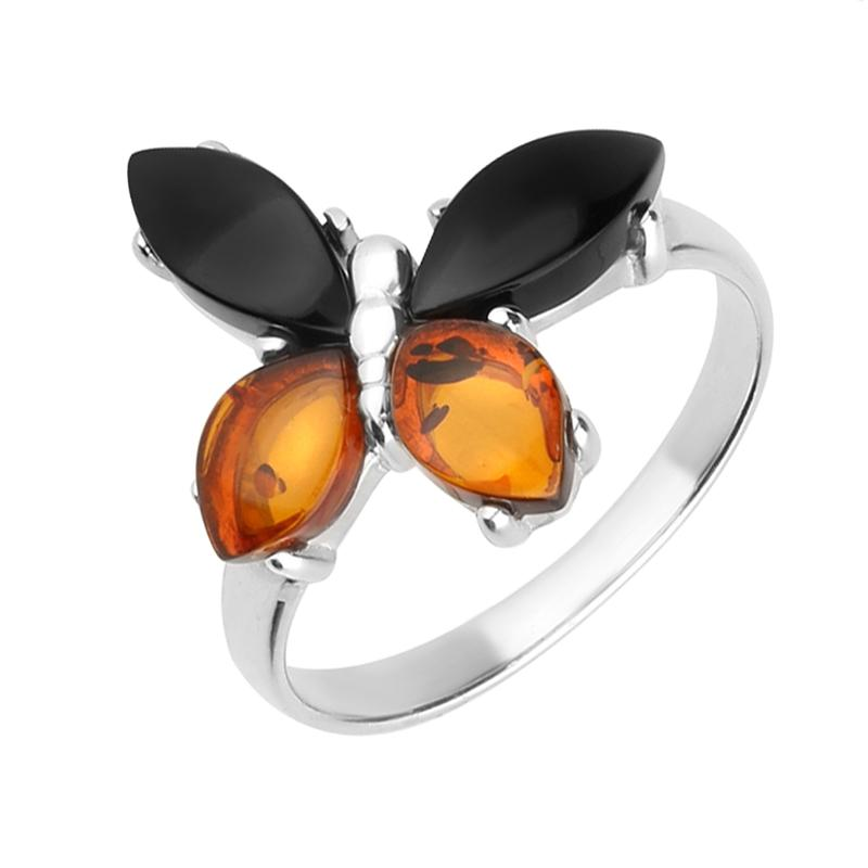 Sterling Silver Whitby Jet Amber Small Butterfly Ring R1169