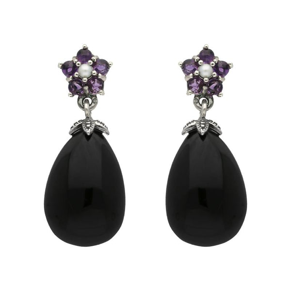 Sterling Silver Whitby Jet Amethyst Pearl Flower Drop Earrings E1701
