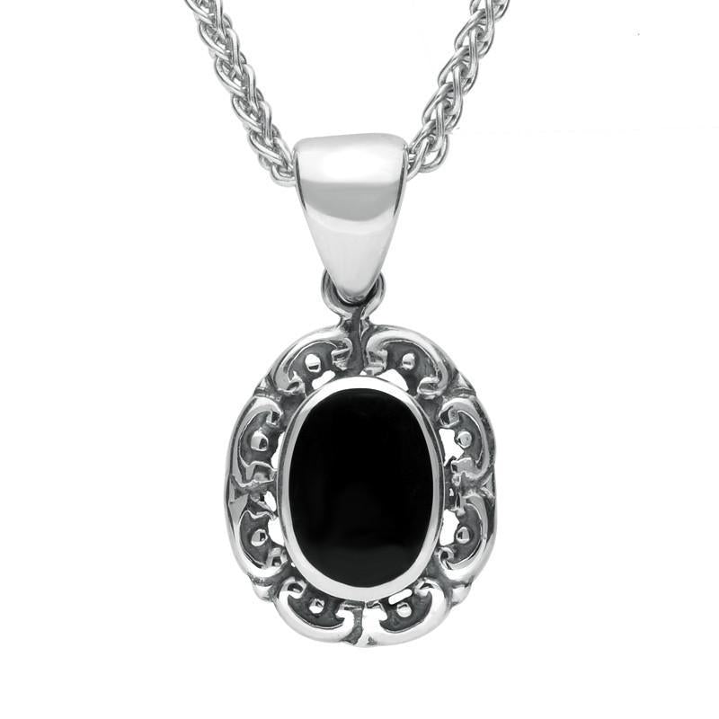 Sterling Silver Whitby Jet Antique Frame Necklace. P128.