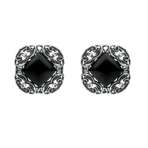 Sterling Silver Whitby Jet Antique Style Stud Earrings E1799