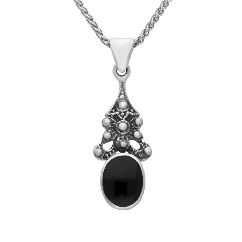 Sterling Silver Whitby Jet Beaded Oval Necklace. P141