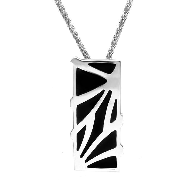 Sterling Silver Whitby Jet Branch Style Oblong Necklace. P1285