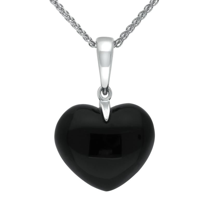 Sterling Silver Whitby Jet Carved Heart Necklace. p2272_m.