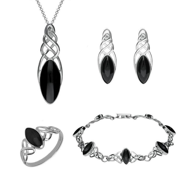 Sterling Silver Whitby Jet Celtic Marquise Piece Set. S012