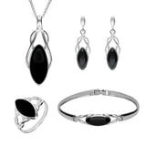 Sterling Silver Whitby Jet Celtic Twist Piece Set