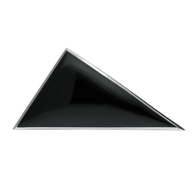 Sterling Silver Whitby Jet Contemporary Triangular Brooch. M110.