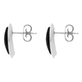 Sterling Silver Whitby Jet Curved Marquise Stud Earrings. e1657.