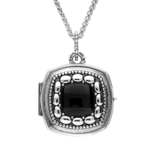 Sterling Silver Whitby Jet Cushion Shaped Locket. P2093.