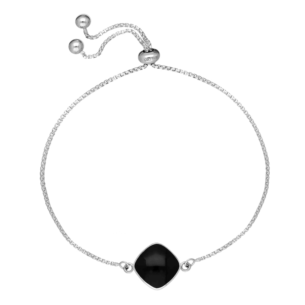 Sterling Silver Whitby Jet Diamond Cushion Shaped Adjustable Bracelet B1131