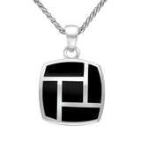 Sterling Silver Whitby Jet Five Stone Tile Two Piece Set S041 necklace