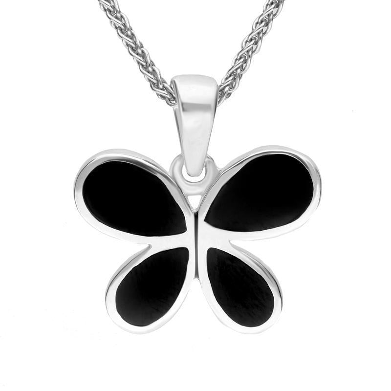 Sterling Silver Whitby Jet Four Stone Butterfly Necklace. P948