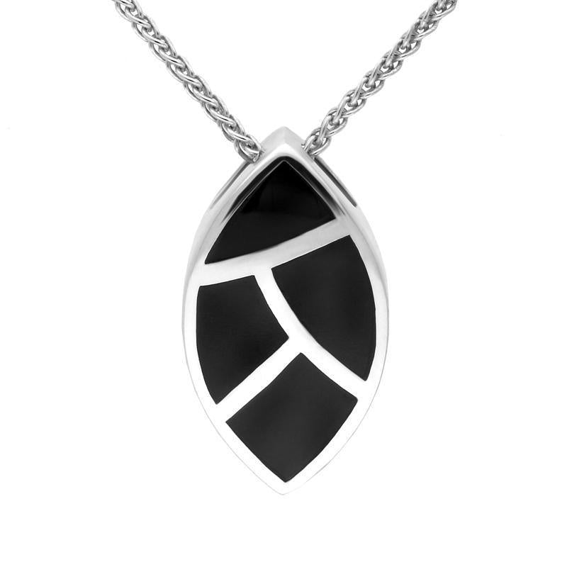 Sterling Silver Whitby Jet Four Stone Leaf Shaped Necklace. P862