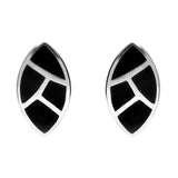 Sterling Silver Whitby Jet Four Stone Leaf Shaped Stud Earrings. E557