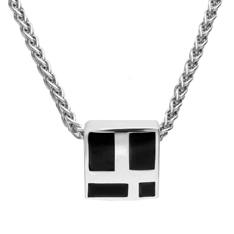 Sterling Silver Whitby Jet Four Stone Small Square Necklace. P679