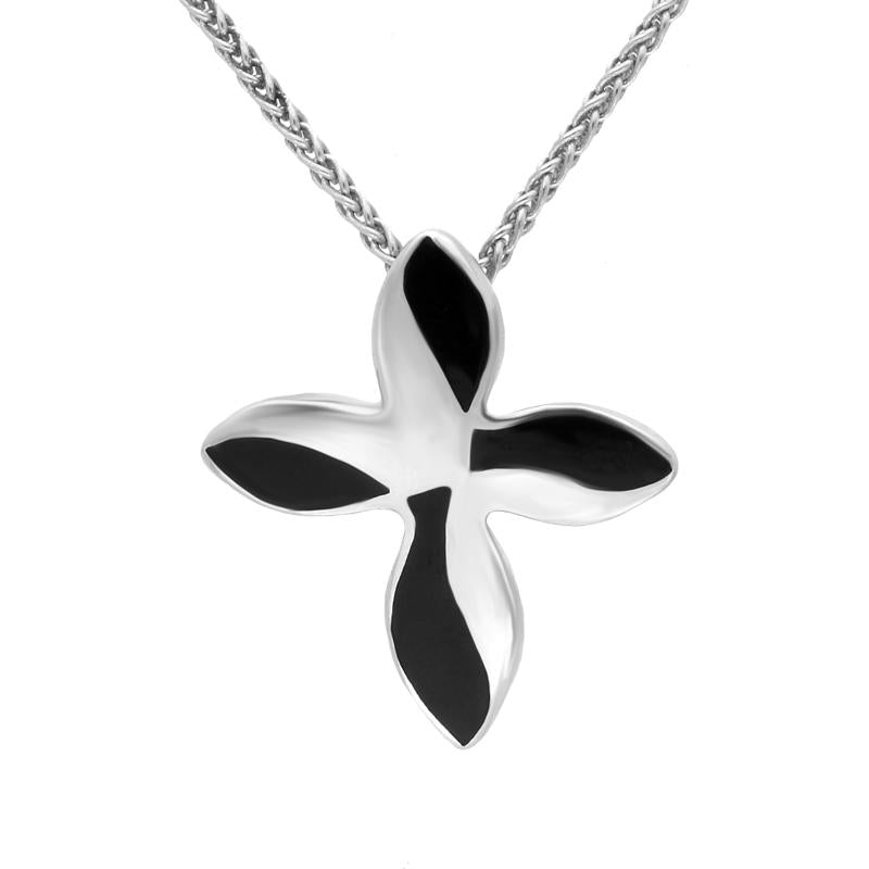 Sterling Silver Whitby Jet Four Stone Twisted Cross Necklace. P1258