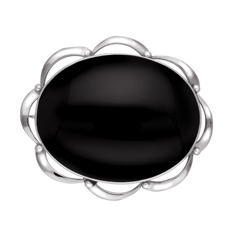 Sterling Silver Whitby Jet Framed Frill Edge Oval Brooch. M189.
