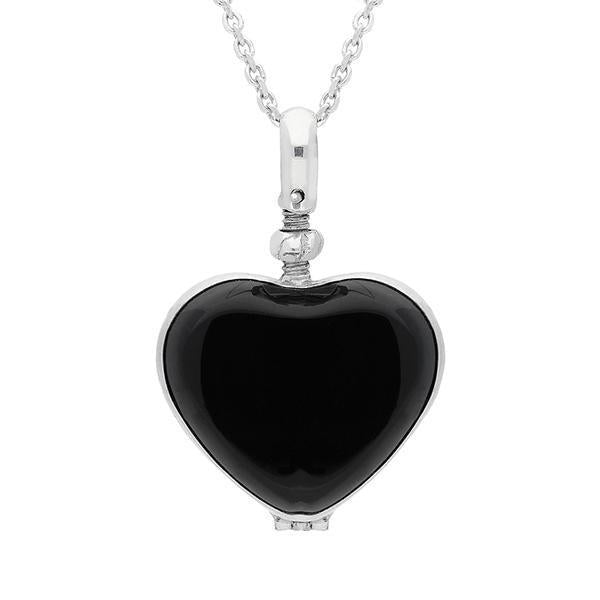 Sterling Silver Whitby Jet Glass Heart Locket. P2648.
