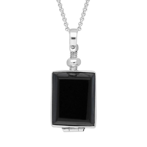 Sterling Silver Whitby Jet Glass Rectangular Locket, P2646.
