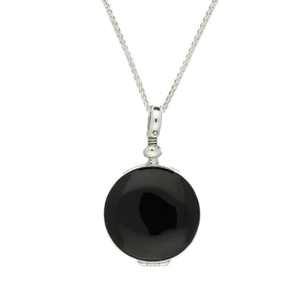 Sterling Silver Whitby Jet Glass Small Round Locket, P2647.