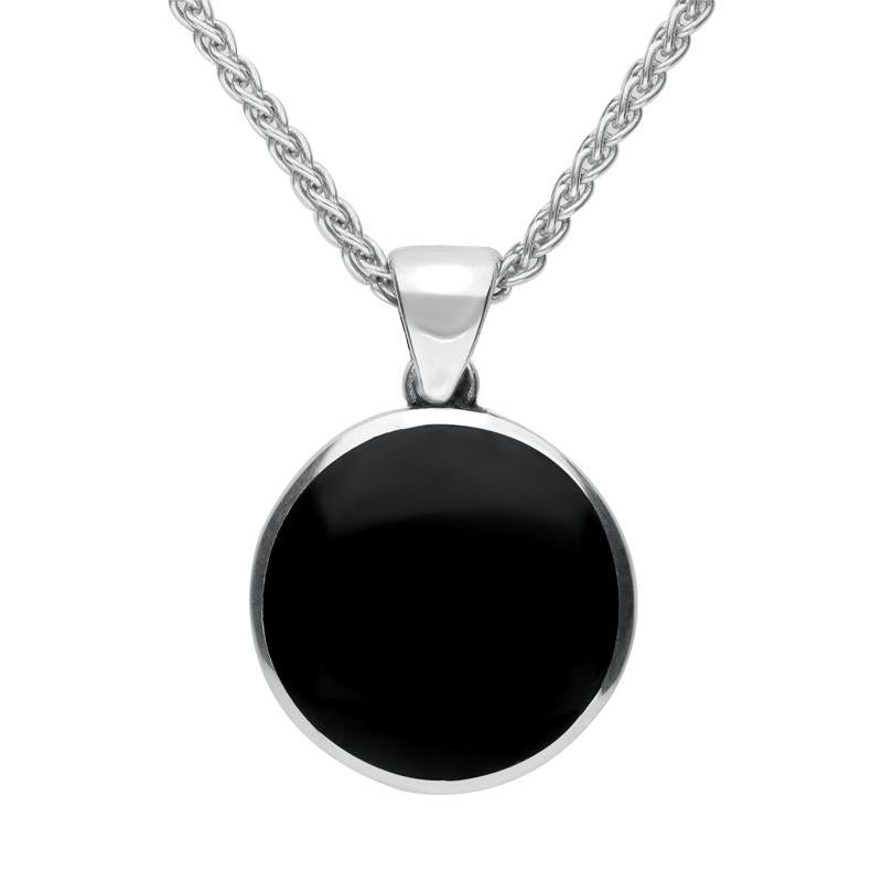 Sterling Silver Whitby Jet Great Yorkshire Show Rose Necklace. P1945.
