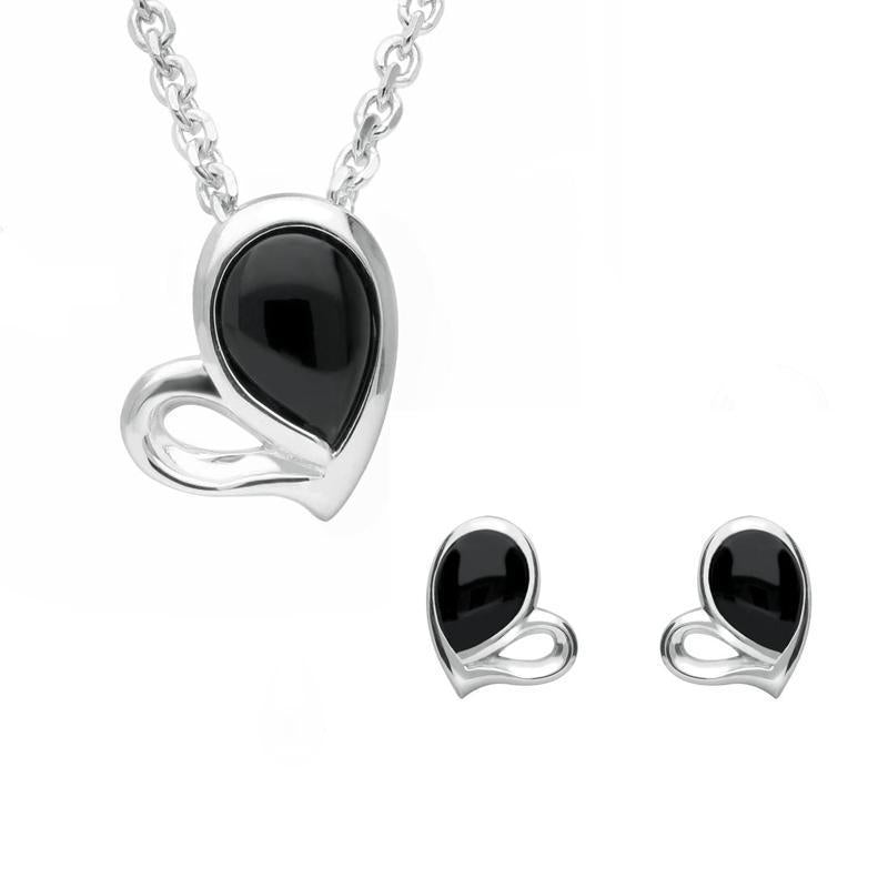 Sterling Silver Whitby Jet Half Filled Heart Two Piece Set