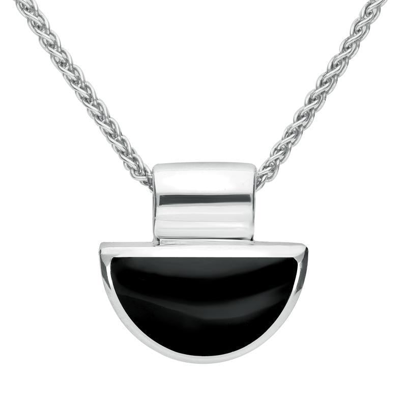 Sterling Silver Whitby Jet Half Moon Shape Necklace. P391