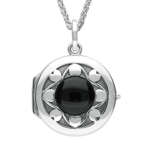Sterling Silver Whitby Jet Heart Edge Circular Locket, P2607.