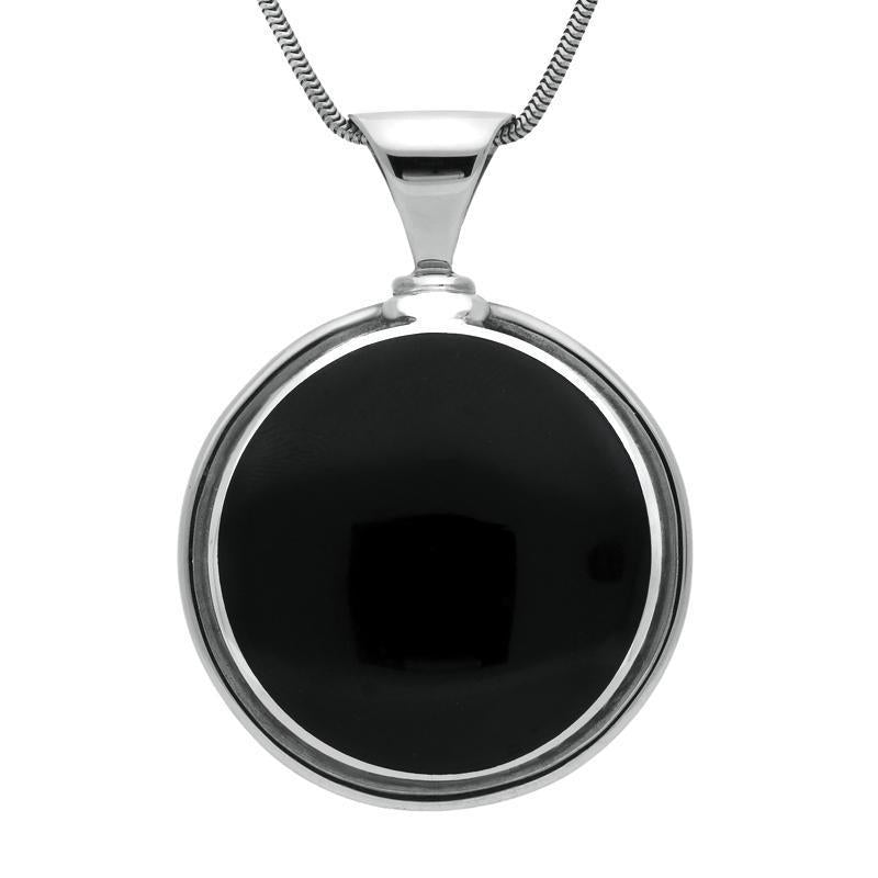 Sterling Silver Whitby Jet Heavy Round Necklace, P144.