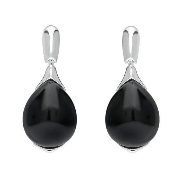 Sterling Silver Whitby Jet Hinge Top Pear Drop Earrings E2431