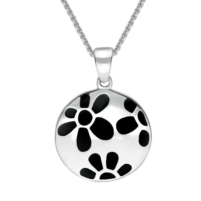 Sterling Silver Whitby Jet Inlaid Flower Necklace. P1275