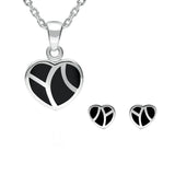 Sterling Silver Whitby Jet Inlaid Heart Two Piece Set. S044.