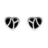 Sterling Silver Whitby Jet Inlaid Heart Two Piece Set. S044. earrings