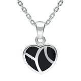 Sterling Silver Whitby Jet Inlaid Heart Two Piece Set. S044. necklace