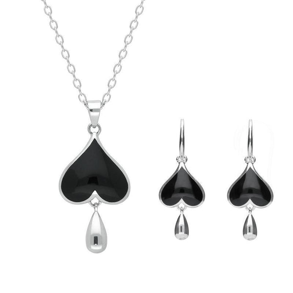 Sterling Silver Whitby Jet Inverted Heart Two Piece Set. S020