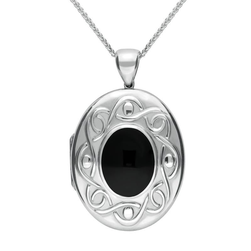 Sterling Silver Whitby Jet Large Celtic Oval Locket