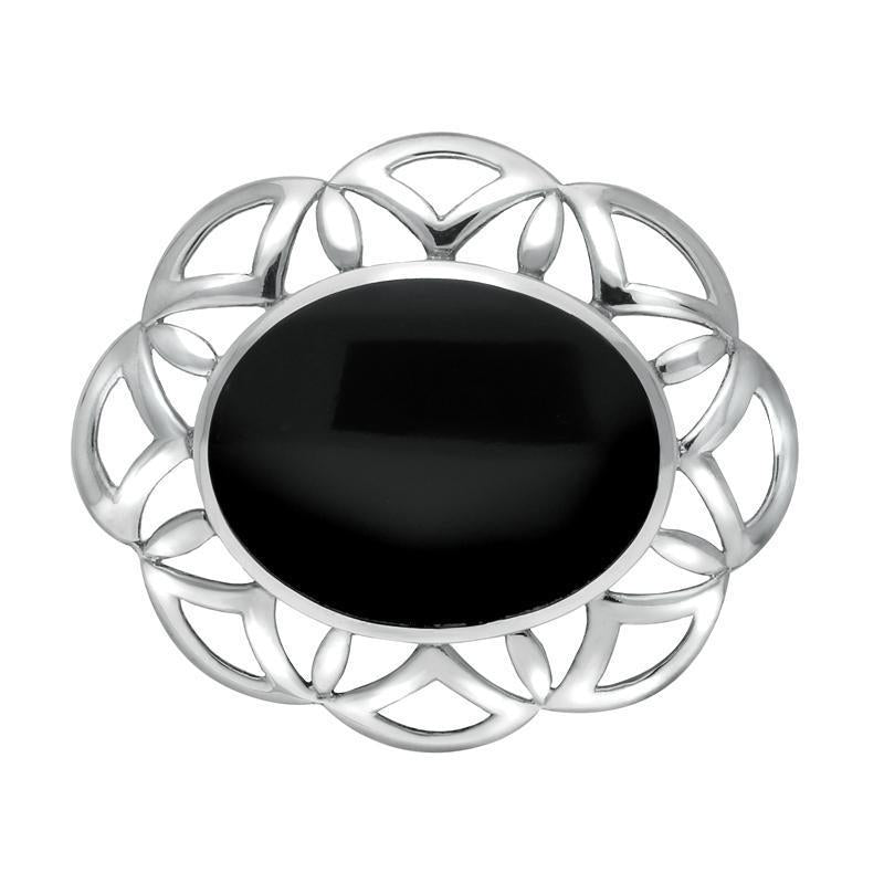 Sterling Silver Whitby Jet Large Flower Brooch