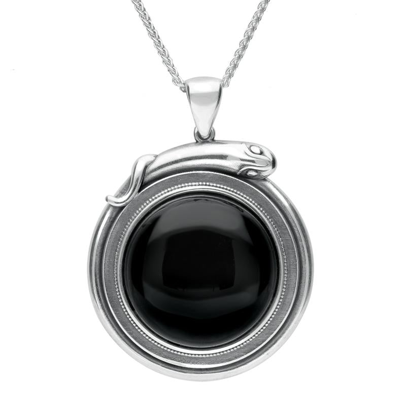 Sterling Silver Whitby Jet Large Round Snake Edge Necklace P3311