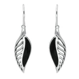 Sterling Silver Whitby Jet Leaf Drop Two Piece Set. S023