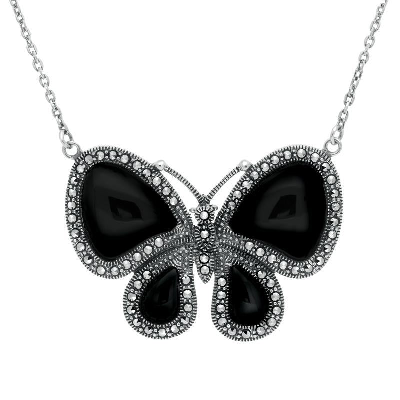 Sterling Silver Whitby Jet Marcasite Butterfly Necklace. N992.
