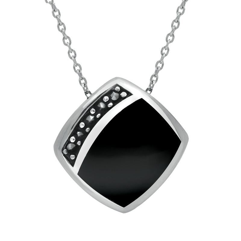 Sterling Silver Whitby Jet Marcasite Cushion Necklace P1317