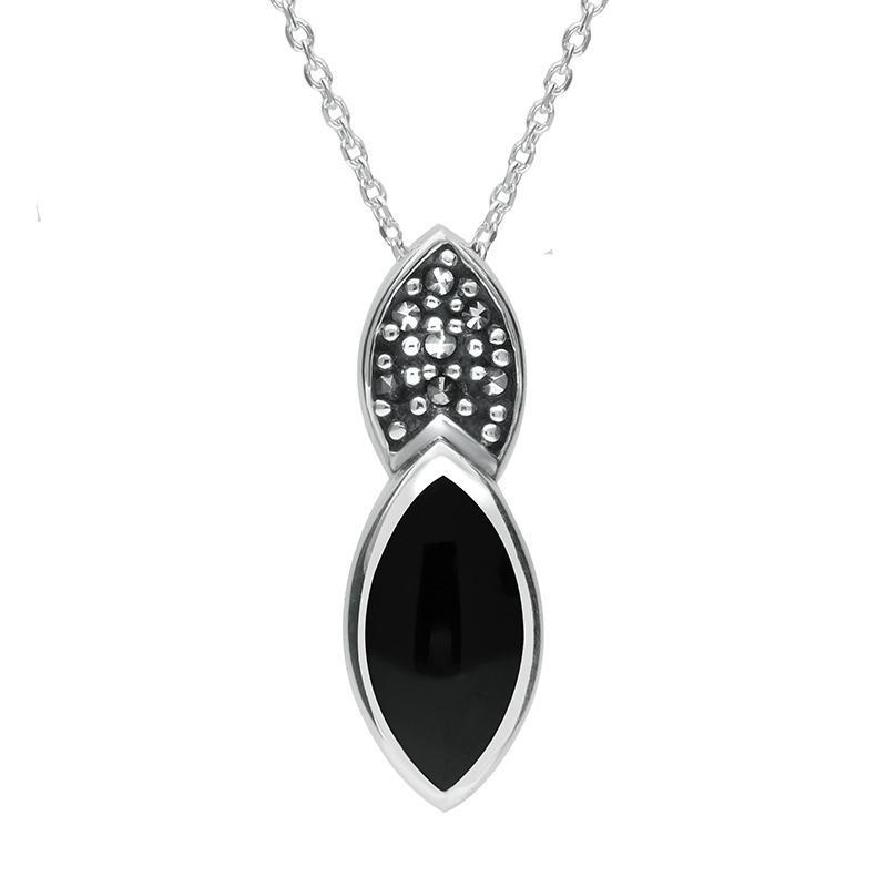 Sterling Silver Whitby Jet Marcasite Double Marquise Necklace