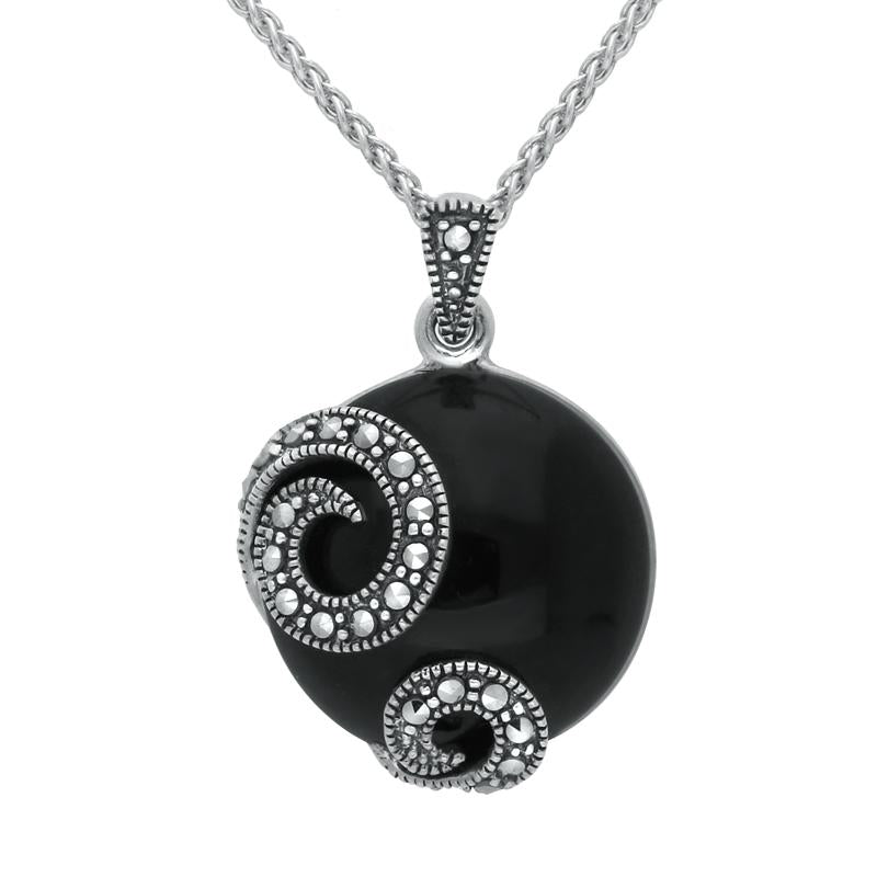 Sterling Silver Whitby Jet Marcasite Double Spiral Round Necklace. P2117.